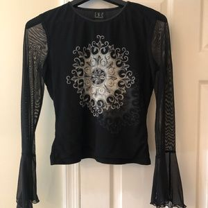INC black, long sleeve top, sheer sleeves